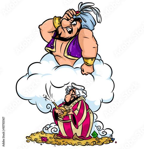 Fotografia, Obraz Greedy Aladdin wish lamp magic angry Jin Oriental fairy tale characters cartoon