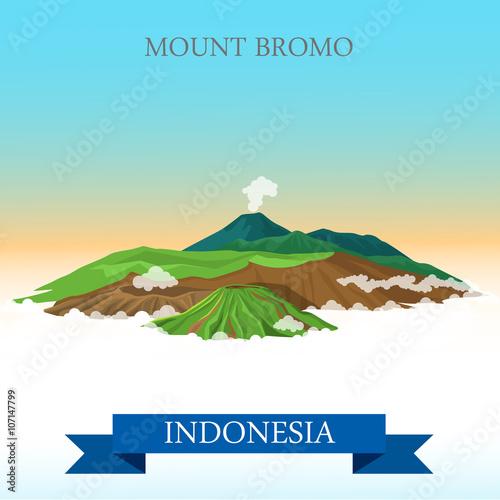 Mount Bromo in Indonesia vector flat attraction Fototapete