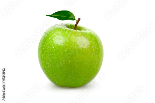 Fotografiet ripe tasty green apple with leaf isolated on white
