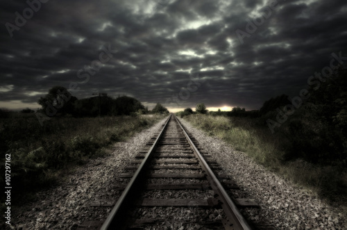 Photo Vintage railroad track