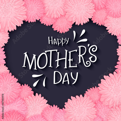 Photo vector hand drawn lettering with  flowers heart and quote - happy mothers day