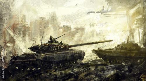 Canvas Print War, battle tank