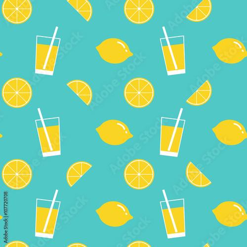 Photo lemon and lemonade seamless pattern background
