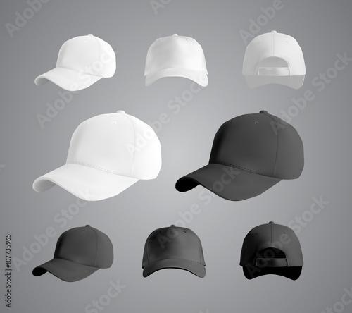 Fotografie, Obraz Baseball cap black and white templates, front, side, back views set, vector eps1