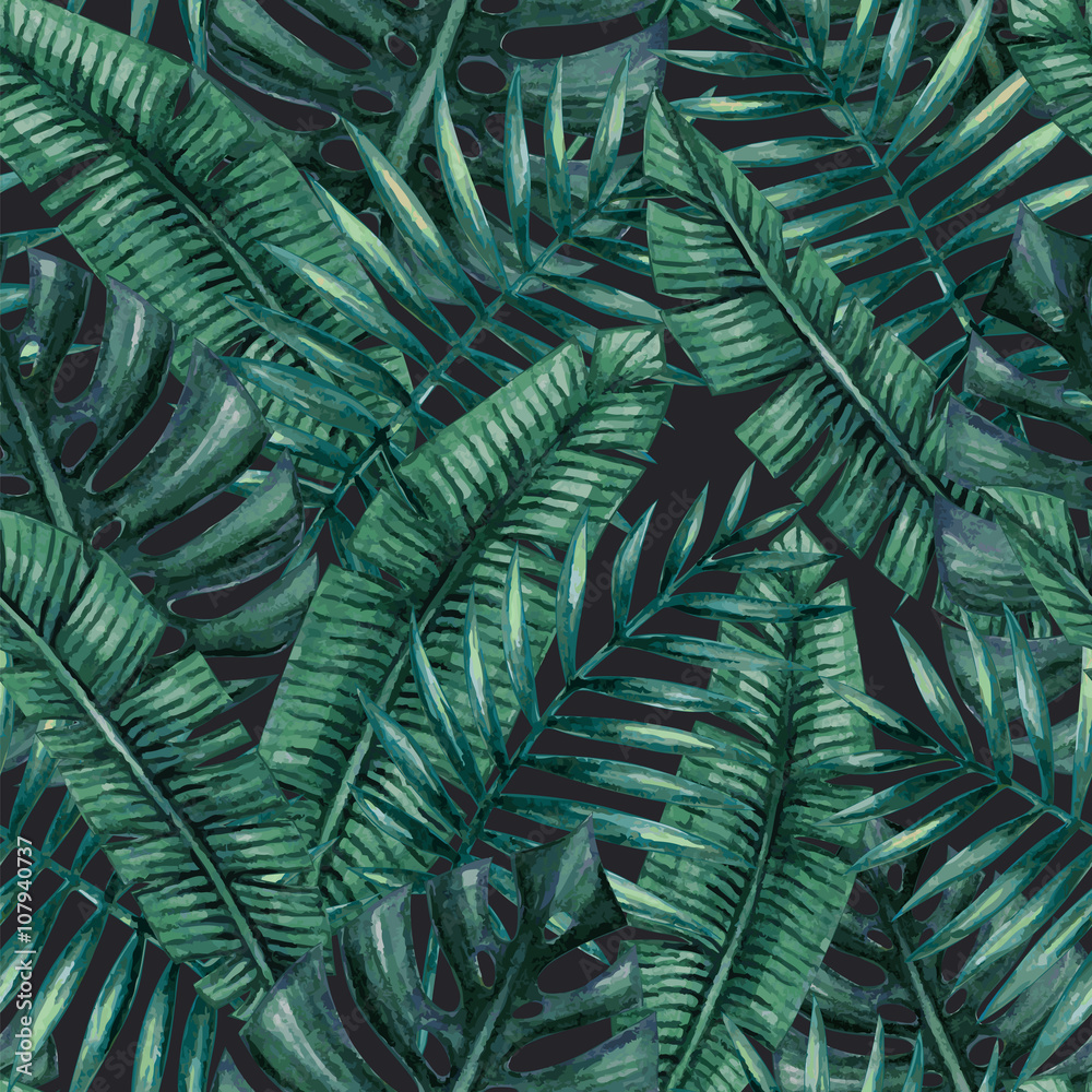 Fototapeta Akwarela tropikalny liści palmowych wzór b