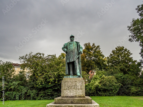 Statue of Otto von Bismarck in Luebeck, Germany Poster Mural XXL