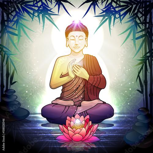 Fotografiet Buddha in Meditation With Lotus Flower