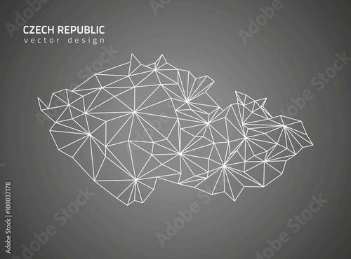 Photo Czech Republic black vector outline map