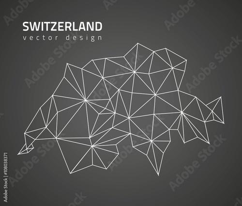 Photo Switzerland black vector polygonal map