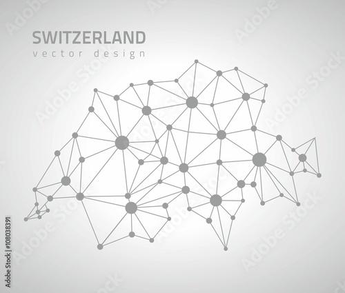 Photo Switzerland vector outline polygonal map