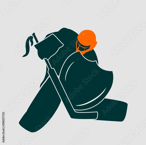 Fotomural Vector illustration of ice hockey goalie with knight shield