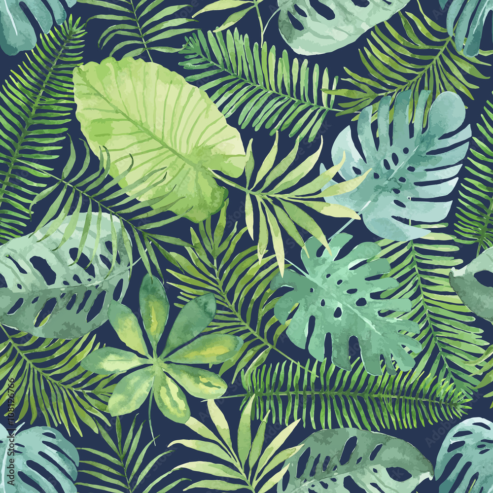 Fototapeta Tropikalne liście na ciemnym tle