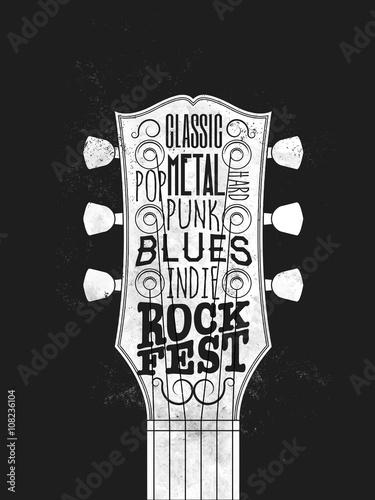 Plakat festiwalu muzyki rockowej. Vintage w stylu ilustracji wektorowych.