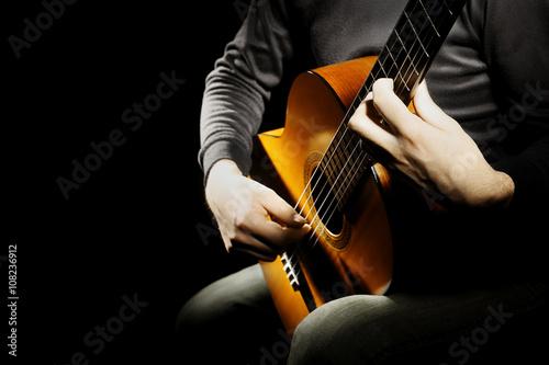 Stampa su Tela Acoustic guitar classical guitarist hands