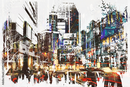 people walking in city with abstract grunge painting,illustration art
