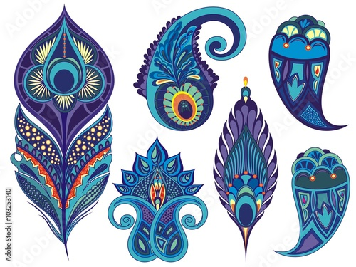 Wallpaper Mural Set for design with peacock feathers, leaves, flowers and decorative elements