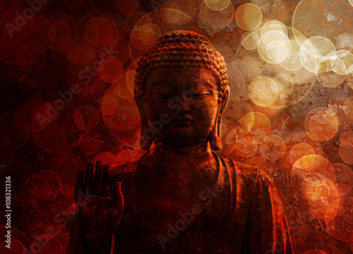 Bronze Red Zen Buddha Statue Raised Palm