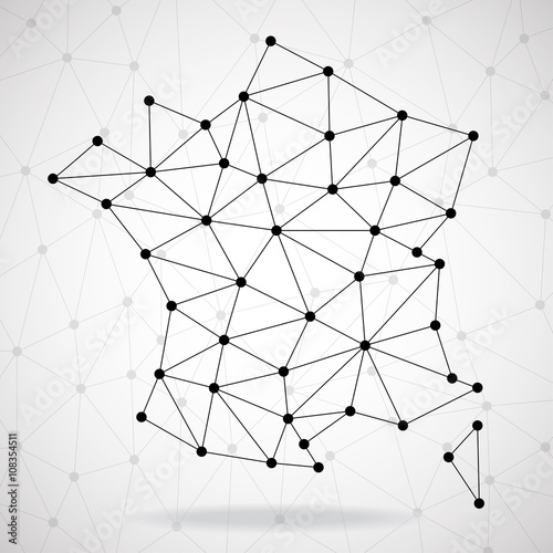 Abstract polygonal France map with dots and lines, network connections, vector i Fototapeta