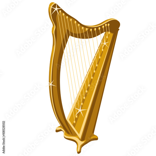 Photo Classic gold sparkle harp, cartoon style