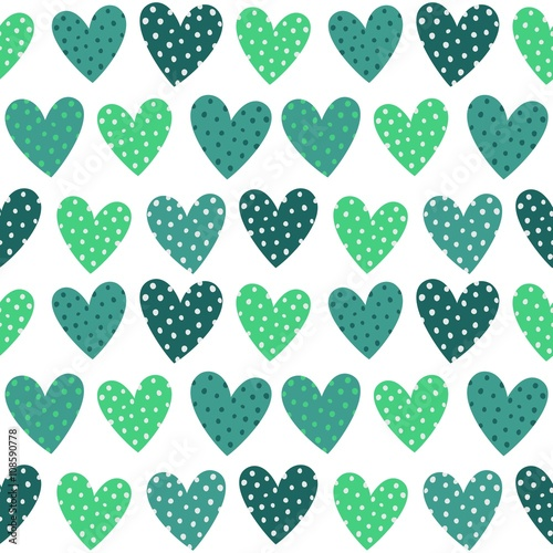 Cute Turquoise Hearts With Dots Seamless Pattern