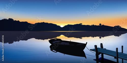 Fotografie, Obraz Paysage - Barque - Ponton