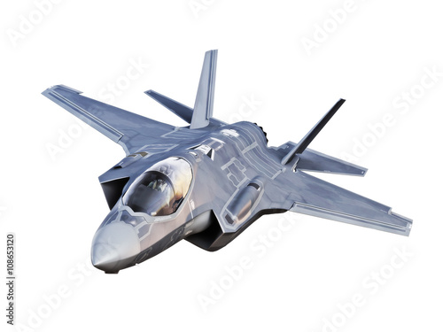 Fototapeta Angled view of a F35 jet aircraft isolated on a white background.