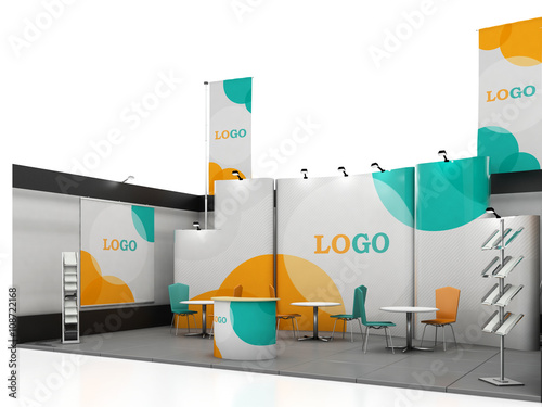 Fototapeta Blank creative exhibition stand design with color shapes