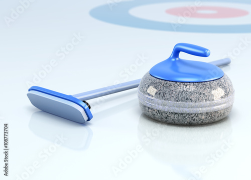 Stampa su Tela Stone and brush for curling on ice. 3d render image.