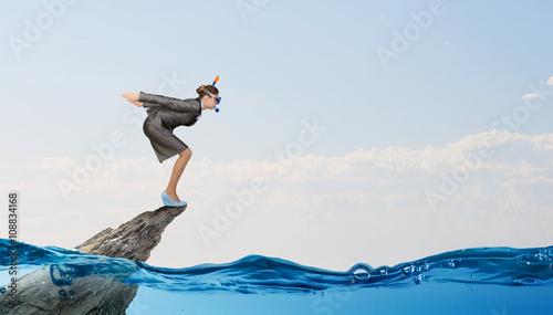 Tablou Canvas Businesswoman diver. Concept image