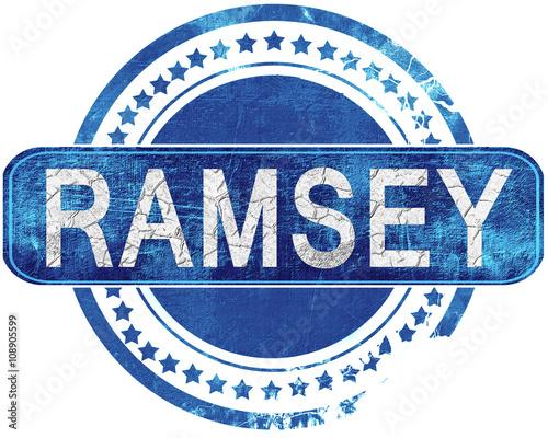 Carta da parati ramsey grunge blue stamp. Isolated on white.