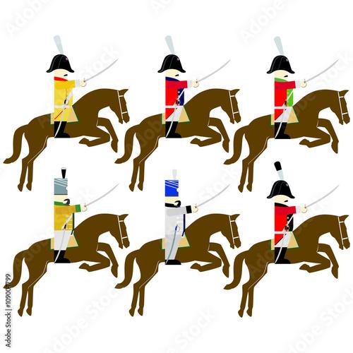 Obraz na płótnie Military uniforms cavalry army of Saxony in 1812