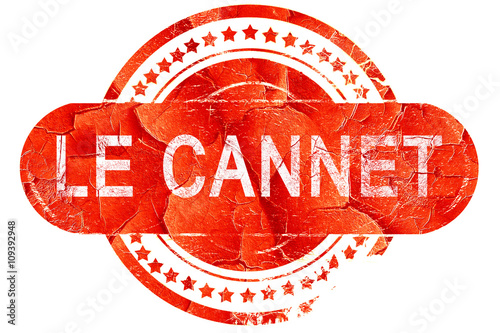 Photo le cannet, vintage old stamp with rough lines and edges