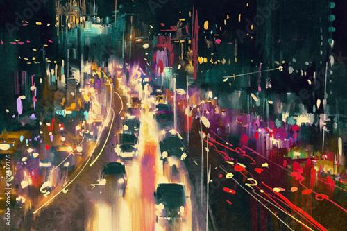 light trails on the street at night,illustration digital painting