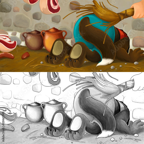 Stampa su Tela Cartoon scene of a wolf that stuck - beaten up as punishment - with coloring pag