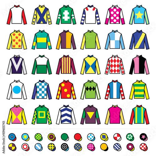 Jockey uniform - jackets, silks and hats, horse riding icons set Fototapeta