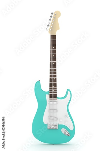 Canvas Print Isolated turquois electric guitar on white background