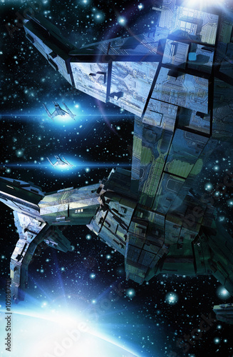 Платно Spaceship fighters and sun