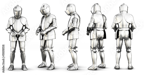 Fotografia Set of different view armor isolated on white background