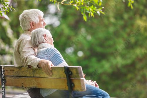Elderly couple resting on a bench in the park Fototapet