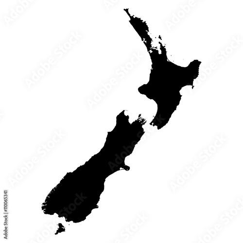 Nowa Zelandia czarna mapa na białym tle