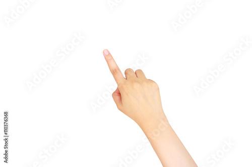 Canvastavla female hand touching, pointing to something