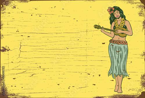 Drewniany znak, Hula dziewczyna gra na ukulele