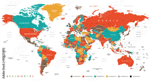 Foto Green Red Yellow Brown World Map - borders, countries and cities - illustration   Highly detailed colored vector illustration of world map
