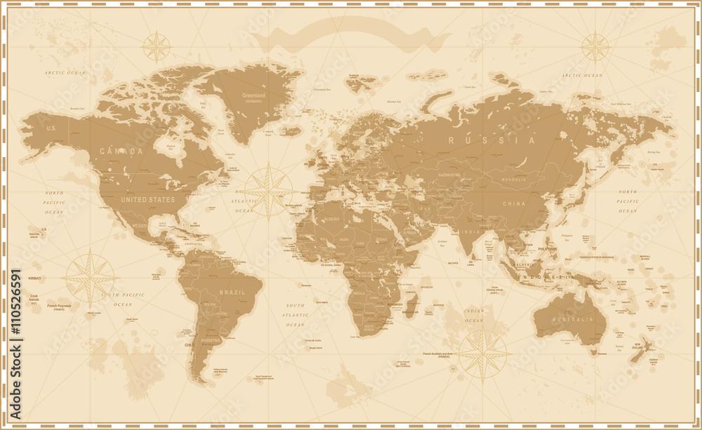 Old Vintage Retro World Map <span>plik: #110526591   autor: Porcupen</span>