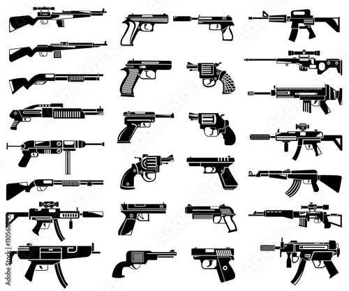 Photo gun icons, machine gun icons
