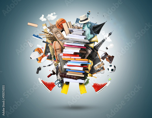 Canvas Print Education, a stack of books and magazines with other things