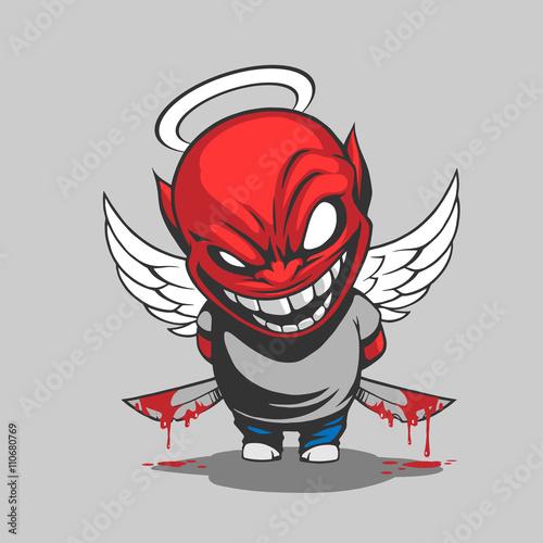 Comic demon illustration Fototapeta