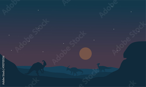 фотография Silhoette of parasaurolophus at night