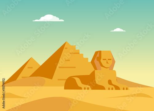 Fotografia Pyramids And Sphynx