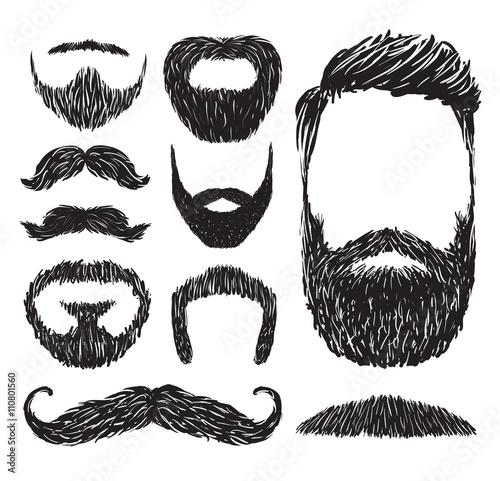 Fotografia Set of mustache and beard silhouettes, vector illustration